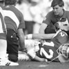 1/30/97--SUPERBOWL 27/KELLY--CAPPY PHOTO--KELLY HOLDS HIS KNEE AFTER AN EARLY FOURTH QUARTER INJURY PUT KELLY OUT OF THE BOWL IN PASADINA.<br /> <br /> SP