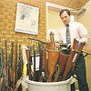 3/19/97--NIA. SHERIFFS/MORGUE--DAN CAPPELLAAZZO PHOTO--ALBERT T. MACK, CHIEF OF THE FORENSICS, STANDS IN THE WEAPONS ROOM AT THE NAIGARA CO. JAIL.<br /> <br /> 1A