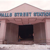 1/27/97 Falls Street Station - James Neiss Photo - Bill Ewing, a  Supervisor with a local demolition company, blocks off the enterance to the Falls Street Station as the interior is gutted. <br /> <br /> Teleteck<br /> Teletec<br /> Tele<br /> Downtown