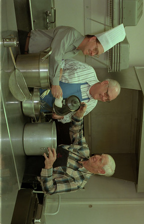 98/03/03 Masonic Dinner *Dennis Stierer photo - Ames Chapter #88 members, John A. Haaehl, Ernest Hoefer, and Richard Miller are preparing for the 5th annual roast beef dinner, to be held March 22, 1998 at 1 Cottage St.