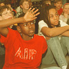 "98/03/09-- famous amos 2--Takaaki Iwabu photo-- James Starks raises his hand for a question. The 4th and 5th graders at Maple Ave. School intently listened to the speech from ""Famous Amos."" <br /> <br /> 1A, Tuesday"