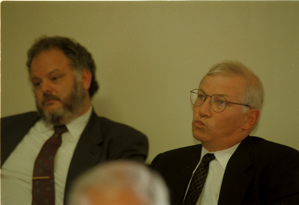 98/08/03 Merino Hearing - James Neiss Photo - City Counsel held a meeting to decide if the firing of City Corporation Counsel Robert P. Merino, Right, was done legally. MerinoÕs council, Rocco J. Bruno Jr.,  is sitting at left.