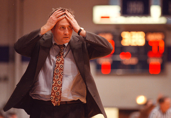 2/2/97-- NU hoops 1--Takaaki Iwabu photo-- NU head coach Jack Armstrong expresses his frustration in the late of second half during Saturday's game against Iona University. <br /> <br /> sports, Monday
