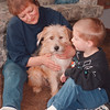 "4/16/97--DOG STORY--DAN CAPPELLAZZO PHOTO--GLORIA WIEPERT, RANSOMVILLE, AND GRANDSON JUSTIN CLARK, 4, COMFORT ""MUFFY, "" THE TERRIRER MIX THE STRAY THAT CAME IN TO THEIR LIVES.<br /> <br /> FEATURE/FRI"