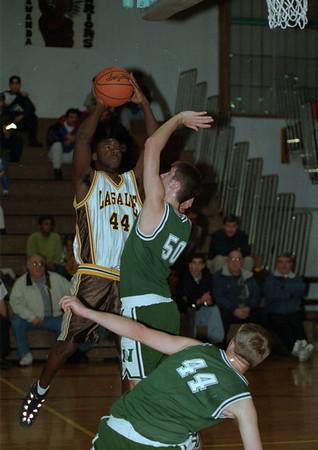 97/01/14 Nichols at LaSalle 2 - James Neiss Photo - #44Jason Seaberry trys to put one past Nichols #50  Nick Laettner & #44 John Kloepfer.