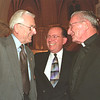 98/10/01 Pharharmonic Friends *Dennis Stierer Photo -<br /> Guest Conductor Paul Ferington (center) gets a warm greeting from some old friends Edwin Feller (left) and Father Paul Whitney, Pastor of St. Mary's Roman Catholic Church, Medina.