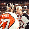 5/11/97--SABRES/POST GAME--DAN CAPPELLAZZO PHOTO--SABRES MATTHEW BARNABY SHAKES HANDS WITH FLYERS GOALTENDER RON HEXTALL AFTER THE SABRES LOSS AT THE MMA.<br /> <br /> 1A FOLDER