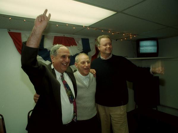 97/11/04 Council Winners - James Neiss Photo - Vince Morello, Anthony Quaranto and John Accardo celebrate their win.