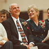 97/10/07-- Wilson Schools--Takaaki Iwabu photo-- Richard Zipp and his wife Janice Zipp smile when a guest speaker tells  anecdotes on Mr. Zipp to the crowd during the Dedication Ceremony for Richard J. Zipp Athletic Center at Wilson Middle School. <br /> <br /> local, bw, Wednesday