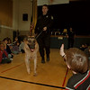 "97/11/20--POLICE POOCH--DAN CAPPELLAZZO PHOTO--NF K-9 UNIT OFFICER SHAWN LARRABEE LEADS POLICE GERMAN SHEPARD ""SHANKO, "" WHICH MEANS FRIEND, THROUGH A CROWD OF NIAGARA STREET SCHOOL KIDS DURING A MOCK DRUG SEARCH IN THE SCHOOL GYM.<br /> <br /> LOCAL"