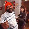 2/18/97--COMMUNTIY HEALTH FAIR--DAN CAPPELLAZZO PHOTO--NU STUDENT NURSE JENNIFER MORGANI CHECKS THE BLOOD PRESSURE OF JOHN PERRY, FROM N.F., AT THE COMMUNTIY CENTER ON CENTER AND 15TH DURING A DAY-LONG COMMUNTIY HEALTH FAIR AT THE CENTER.<br /> <br /> LOCAL