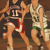 98/02/03--girls basket--Takaaki Iwabu photo-- Lewsiton-Porter Megan House, right, keeps the ball against Niagara Wheatfield Janelle Mahl
