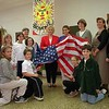 98/11/02 Flag Donation *Dennis Stierer Photo -<br /> Oak Orchard Elementary School received a new flag from the VFW Post 1483, Ladies Auxilary. On hand to receive this wonderful donation was (kneeling in front) Bryanna Steiner, Jason Snell, Lizbeth Roberts, Daniel Volkosh and (standing) Heather Schrader, Carly Wells, Kelsey Hungerford,  Principal Cathy Joint, Eileen Horgan, Marie Koneski, Americanism Chairperson from the VFW, Anne Robinson, 5th grade council president, and teachers Tracey McAllister, Lynn Woodruff, and Sue Bates.