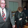 98/12/03 sommerset court--dan cappellazzo photo--Front to back: The lawyer for (check with Chris) Brenda Shepard (middle) and Susan Arcand (back) leads his clients into sommerset twon court after a tiff between the women and the Barker schools.