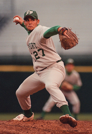 5/29/97 -- baseball 1 --takaaki iwabu photo-- Lew-Port HS Pete Nastasi picthes for the Lancers during the Thursday's game against Dunkirk HS. <br /> <br /> sports, Friday