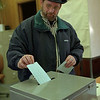 98/03/17 Casting Vote *Dennis Stierer photo - John Davis of Barker casts his vote on Tuesday during the Village elections.