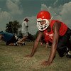 98/08/17 NFHS Football 2 - James Neiss Photo - Joey Sands, 17yrs 12th grade, does exercise drills during the first day of NFHS football camp.