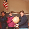 5/10/97-- school house-- Takaaki Iwabu photo--Wanda Burrows, right, school house chairman of Wilson Historical Society, work together with Mindy Schult and Becky Foster from Wilson Teachers Association Saturday as they and other volunteers help relocating the Villege's school house. (open house will be May 18)<br /> <br /> feature, Saturday, bw