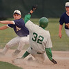 5/23/97--Lancers 2--Takaaki Iwabu photo-- Lew-Port Vic Muto (32) slides into the second base as he completes a steal. Alvion's B.J. Aina is left. <br /> <br /> sports, Friday, bw