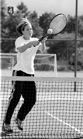 98/10/02 Practice, Practice *Dennis Stierer Photo -<br /> Victoria Schmidt, a varsity tennis player for Lockport High gets in some footwork practice during a day off.
