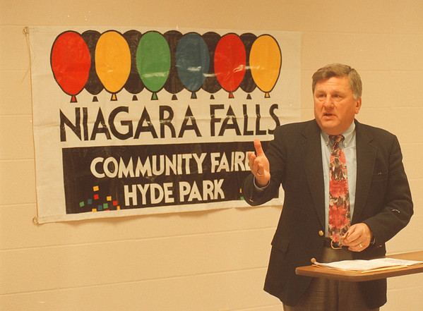 5/19/97 Community Faire - James Neiss Photo - Jerald Wolfgang, Chairman of the Community Faire at Hyde Park talks about the upcoming event.
