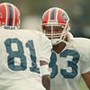 98/08/04--Bills, Gash --Takaaki Iwabu photo-- Buffalo Bills Sam Gash, right, talks to ......... (81) during the camp at Fredonia.