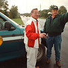 10/2/97- municipal bill --Takaaki Iwabu photo-- Ralph Pollow, right, superintendent of highway maintenance at Niagara County, talks to Frank Conde, County's chairman of public works, on Lincoln Avenue in Lockport. (Lincoln Avenue was paved using inter-municipal copperation bill..... for Terry's story) <br /> <br /> 1A, Saturday, color