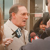 98/02/05-- Gaskill --Takaaki Iwabu photo-- Capt. Louis Curcione of Niagara Falls Police talks to the reporters outside of the police office Thursday morning about the latest of the tragedy at Gaskill Middle School.<br /> <br /> 1A, color, Friday