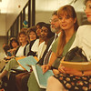6/25/97--Tele Tech 1-- Takaaki Iwabu photo-- Job applicants for Tele-Tech are lined up as they are anxiously waiting for their turn to take a spelling test Tuesday morning. <br /> <br /> 1A, Friday