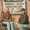 98/03/15-- benefit dinner--Takaaki Iwabu photo-- Missy MacFarlane, 17, talks with Mike Little of Wrights Corners Fire Co. Sunday.  Fund raising dinner for MacFarlane, who was hurt by auto accident last May, will be held March 28th by a few of the area's groups (Fire co., Jublee, Aid Association For Lutherans etc...)            local, bw, Monday
