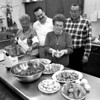 3/12/97--VOLARE CLUB/ST JOES TABLE--DAN CAPPELLAZZO PHOTO--VOLARE CLUB MEMBERS (LTOR) LAURA MARTINEZ, CHAIRMAN JACK FROST, CO-CHAIR IDA DeSIMONE AND DAVID DeSIMONE PREPARE TRADITIONAL ST JOSEPHS TABLE DISHES FOR THE  MARCH 15TH FEAST. BLESSING BY REV. JOSEPH CARLO, ST CHARLES CHURCH, 6PM, START, FOR INFO AND TIX CALL 283-1636.<br /> <br /> GRPA
