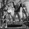 4/21/97--DANCIN' DAYS--DAN CAPPELLAZZO PHOTO--JEN NEWMAN, 16, (SEATED) HAS A LAUGH AS FRIENDS ERIN ROUSH, 14, JANELLE NARDELLO, 16 AND PATTI SHAW, 14, DANCE ON A PICNIC BENCH AT MARYLIN TOOHEY PARK MONDAY AFTERNOON.<br /> <br /> GRAPE