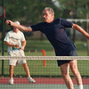 6/17/97-- tennis --Takaaki Iwabu photo-- Gimi Marcheschi stretches for a volley-shot during the Les Nassoiy Tennis match at Hyde Park Court Tuesday. <br /> <br /> sports, Wednesday