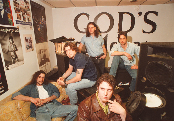 4/24/97 Gods Children - James Neiss Photo - Musicians, Front Center is Peter Vogt of Lockport, back L-R are, Leo McDonald of NF, Bruce Wojick of NF, Peter Ajemian of Syracuse and Mark Pirolli of NF.<br /> Rock Band