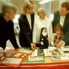 10/2/97--Sacred Heart--Takaaki Iwabu photo-- People involving Sacred-Heart School's 130th anniversay are, from left, Father Jim Kasinski, Mary DeWysocki; chairperson, Mary Proe; retired teacher, Deanna Sorci; 1st grade student, and Sister Mary Walz. <br /> <br /> local, Friday, bw