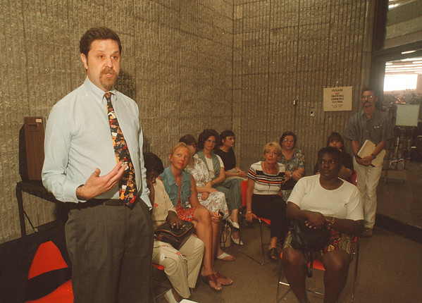 7/15/97 Kenneth A.Sass - James Neiss Photo - Kenneth A. Sass was named president/CEO of Family & Childrens Service of Niagara Inc., durring a special staff meeting today.