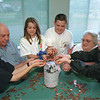 98/06/01 Park Pennies *Dennis Stierer Photo - From the left they are:  Jim Salemeri;  Bill Baehr(resident);  Ashley Beutel;  Adam Zayac;  Lorraine Olewine (resident);  and Stephanie Andriulli. The students are from Gasport Elementary School.<br /> <br /> SEE ATTACHED WRITE UP ON STORY.