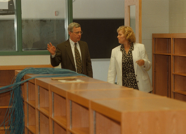 98/06/05 New School  - James Neiss Photo - Niagara Wheatfield School Superintendent Ron Mathews and  West Street Elementary School Principal talk about the long job of getting the school up and running by September. (not sure that is the name of the school)