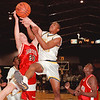 98/03/05 Lkpt vs Jamestown *Dennis Stierer Photo - Jason Chaffin #40, of Lockport battles Craig Swanson #20 of Jamestown for a rebound.