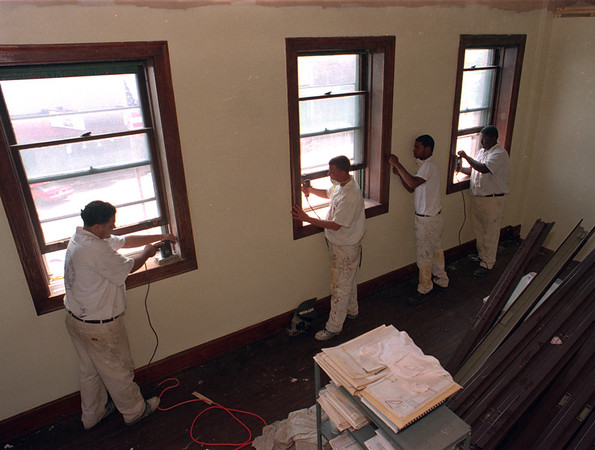 98/08/12 City Hall Work *Dennis Stierer Photo -<br /> The Iroquois Job Corps are at the City Hall 3rd floor doing some renovation. Working on the woodwork are from the left; Joe Celotto,  Jaymes Buckley,  Ronald Pruitt,  and Anthony Colon.