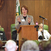 2/14/97 Domestic Violence - James Neiss Photo -  Bonnie Campbell, Director of US Departrment of Justice Women Against Violence office, speeks at the Kickoff of North Tonawandas Domestic Violence Progam against Domestic Violence.<br /> North Tonawanda, NT