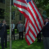 6/10/97--FLAG DONATION/CITY HALL--DAN CAPPELLAZZO PHOTO--RAISING OLD GLORY, DONATED BY DR. AUGUST DOMENICO (WHITE SHIRT NEXT TO GALLIE) AND DR SCOTT FRASIER (LEFT REAR)IN FRONT OF CITY HALL IS  NF CITY COURT JUDGE ROBERT RESTAINO AND HIS BROTHER CITY ADMINISTATOR ANTHONY RESTAINO, AS MAYOR GALLIE PAYS HOMAGE TO THE RED WHITE AND BLUE.<br /> <br /> LOCAL