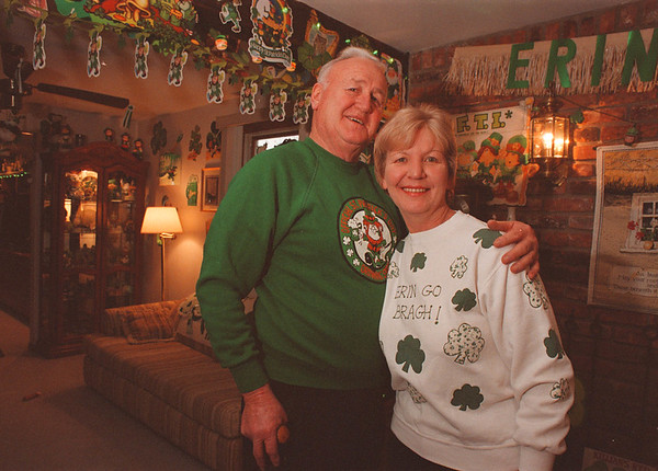 3/14/97 st. p. party--Takaaki Iwabu photo-- Howard and Judy Killian decorates inside and ouside of their house on 334 76th St. every year to celebrate St. Patric Day. The two will host thier family members and friends today (Monday) with Irish cuisine.