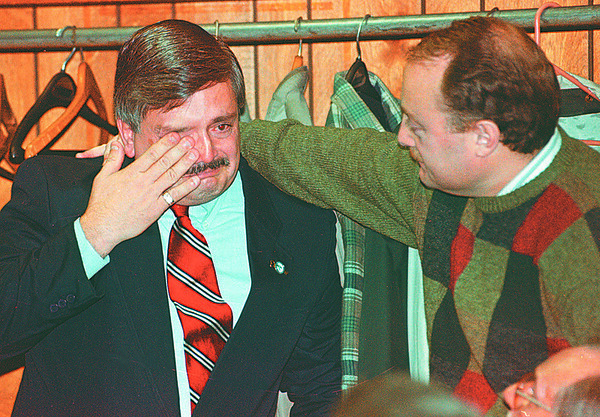 97/11/04--ELECTION/AVERSA--DAN CAPPELLAZZO PHOTO--CITY COUNCIL MEMBER RALPHG AVERSA IS COMFORTED BY A SUPPORTER AFTER LOSING HIS SEAT ON THE CITY COUNCIL.<br /> <br /> 1A