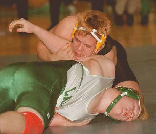 97/01/07 LewPort at  LaSalle2 - James Neiss Photo - LewPorts Toby Schafer came back to win the 215lb weight class against LaSalles Victor Favero.