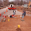 2/18/97--YOUNGTOWN BONES--DAN CAPPELLAZZO PHOTO-- MEMBERS OF THE SUNY BFLO ARCHAEOLOGICAL SURVAY TEAM DIG THROUGH REMAINS ON MAIN STREET AT THE ENTRANCE TO FT. NIAGARA STATE PK.<br /> <br /> 1A