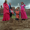 98/06/04 MEDIEVAL FAIR *Dennis Stierer Photo - <br /> The Queen, Karabeth Simons and King, Anthony Muscarella pronounce this their new sand castle as Prince Donnie Martin and Princess Brigid Kilroy look on. The Fair took place Thursday at Emmett Belknap Middle School.