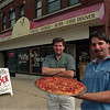 98/07/28 Villa Resturant - James Neiss Photo - L-R - Doug Laubacker, owner, and Brother Rich Laubacker, Manager, show off a pizza which is just a small part of all the good food available at their new resturant on Main Street Lockport.