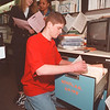 4/14/97 Scholarships - James Neiss Photo - Front, Frank Cafarella 17/12th , back are L-R - Tina Lundwll, Pupil Services Assistant and Allison Powell 17/12th.  Niagara Falls High School students look for scholarship opportunities with help from Pupil Services.<br /> <br /> NFHS
