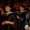 98/05/17-- NU graduation --Takaaki Iwabu photo-- Niagara University's graduate students prepare for conferring of degrees during the NU's 141st commencement at Niagara Falls Civic and Convention Center. Pictured in front are Christine Stevens and Mike Marcello. <br /> <br /> Sunday, color, local